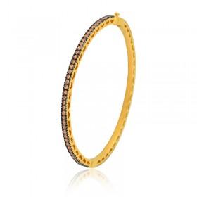 Bracelete Semi Joia com Banho de Ouro 18K e Cravação Total de Zircônias Chocolate