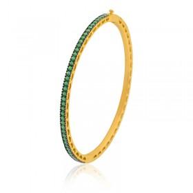 Bracelete Semi Joia com Banho de Ouro 18K e Cravação Total de Zircônias Esmeralda
