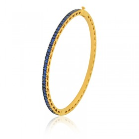 Bracelete Semi Joia com Banho de Ouro 18K e Cravação Total de Zircônias Cor Safira