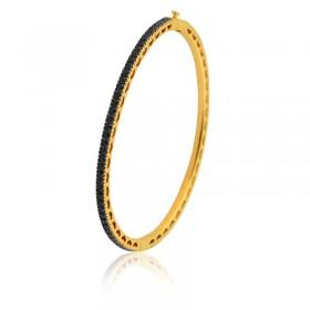 Bracelete Semi Joia com Banho de Ouro 18K e Cravação Total de Zircônias Pretas