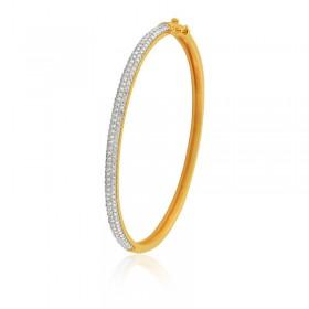 Bracelete Semi Joia com Banho de Ouro 18K e Cravejado de Zircônias
