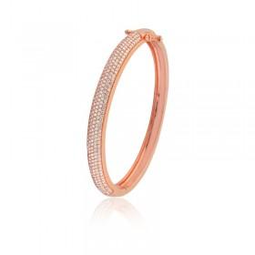 Bracelete Semi Joia com banho de Ouro Rosé e Cravação de Zircônias